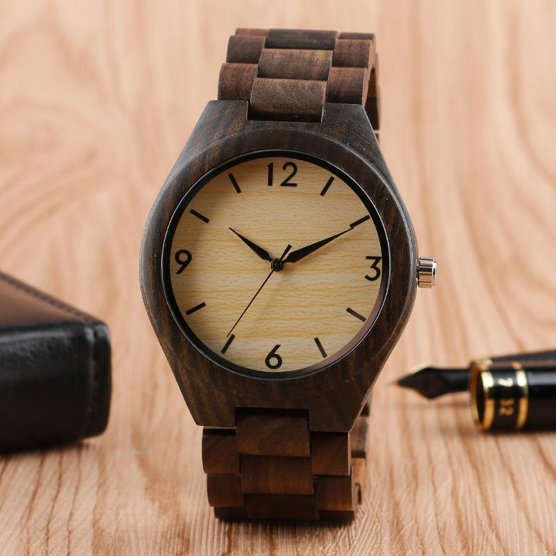 quartz handmade men wood from man wristwatches analog watches s watch hours quadrangle unique vintage bamboo design item leather clock in fashion
