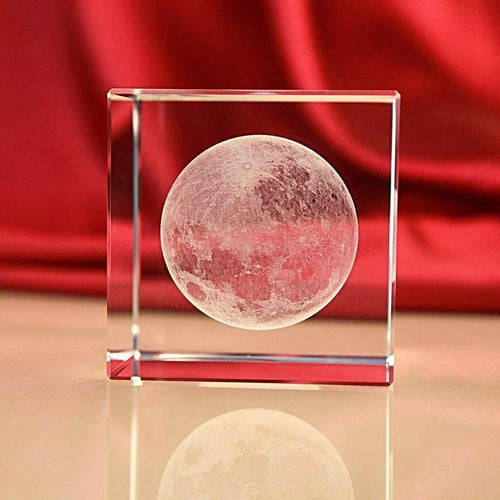 3D Engraved Moon Crystal Paperweight