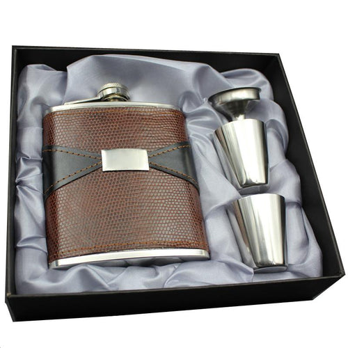 7oz Hip Flask Set - Leather Wrapped Stainless Steel
