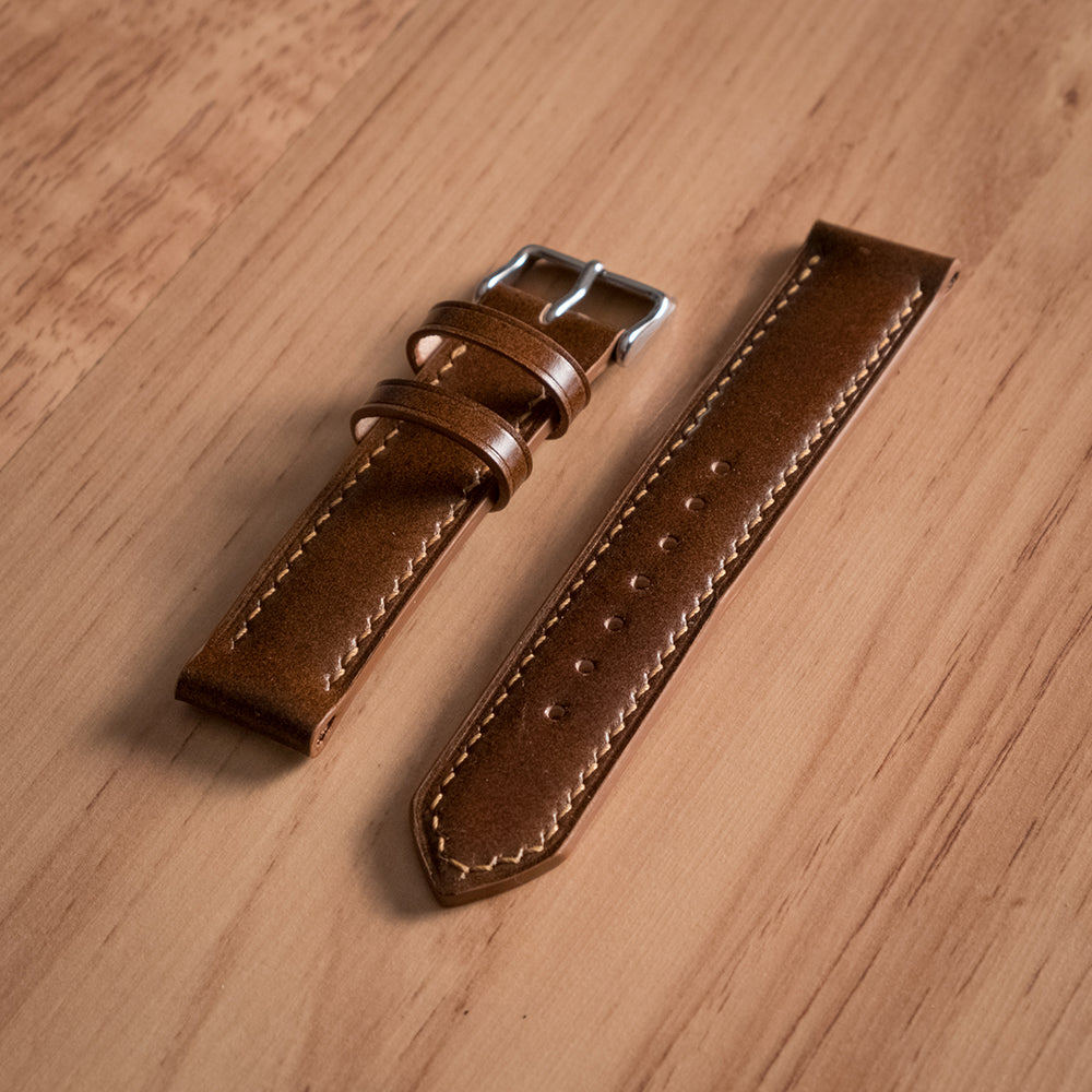 84edc68fa Shell Cordovan Watch Strap - Oak & Honey Leather Goods