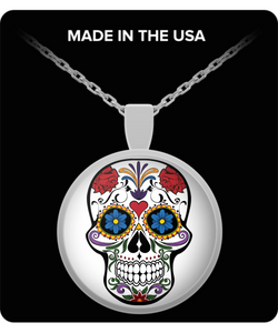 Day Of The Dead Sugar Skull Round Pendant Necklace