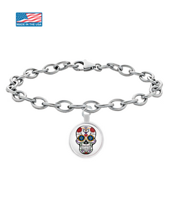 Day Of The Dead Sugar Skull Round Pendant Bracelet