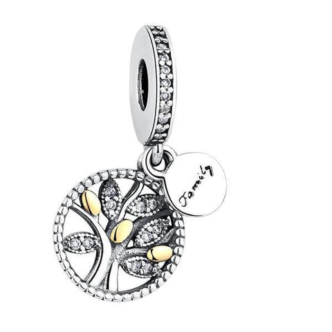 Family Tree Dangle Charms, Clear CZ
