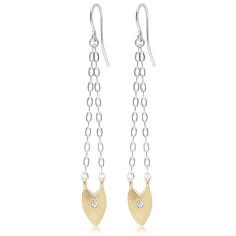 KNIFE EDGE HEART DROP EARRINGS