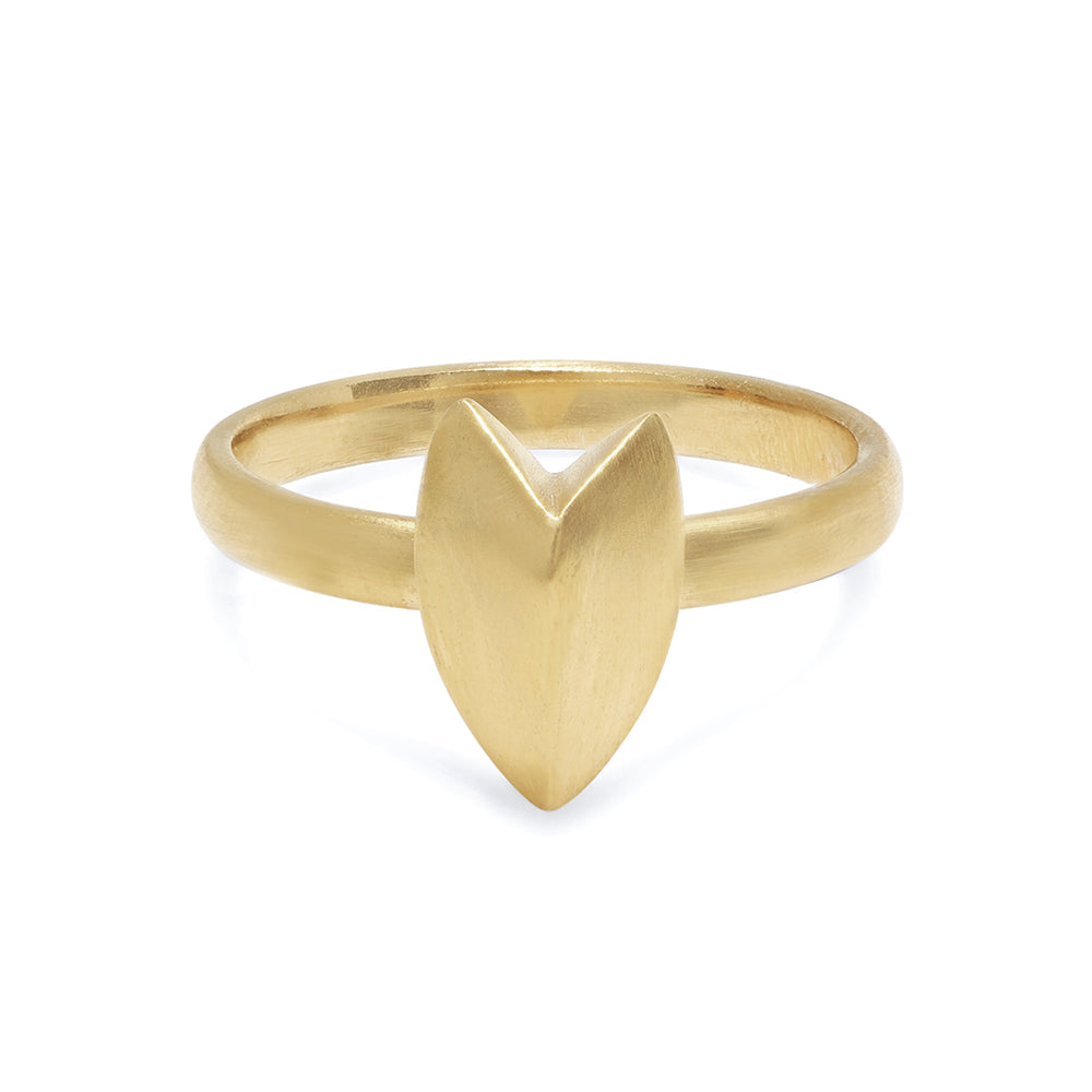 KNIFE EDGE HEART STACKING RING - GOLD VERMEIL