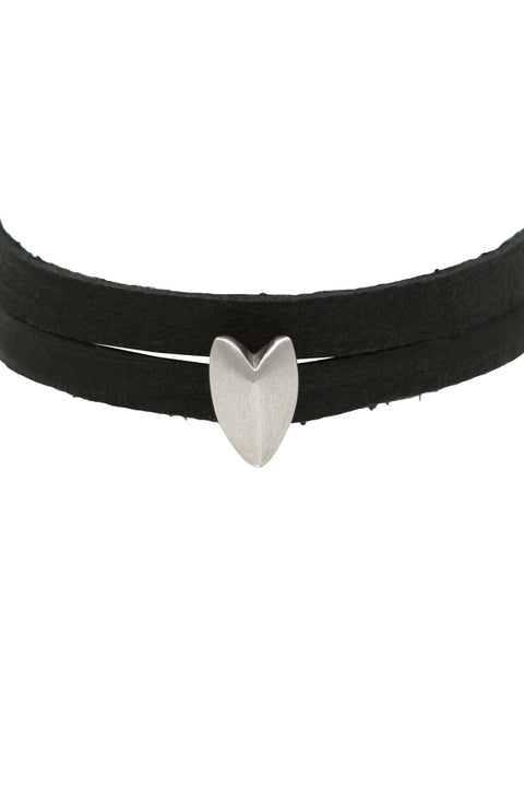 KNIFE EDGE HEART LEATHER WRAP CHOKER / BRACELET