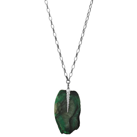 EMERALD SLAB TENDRIL NECKLACE