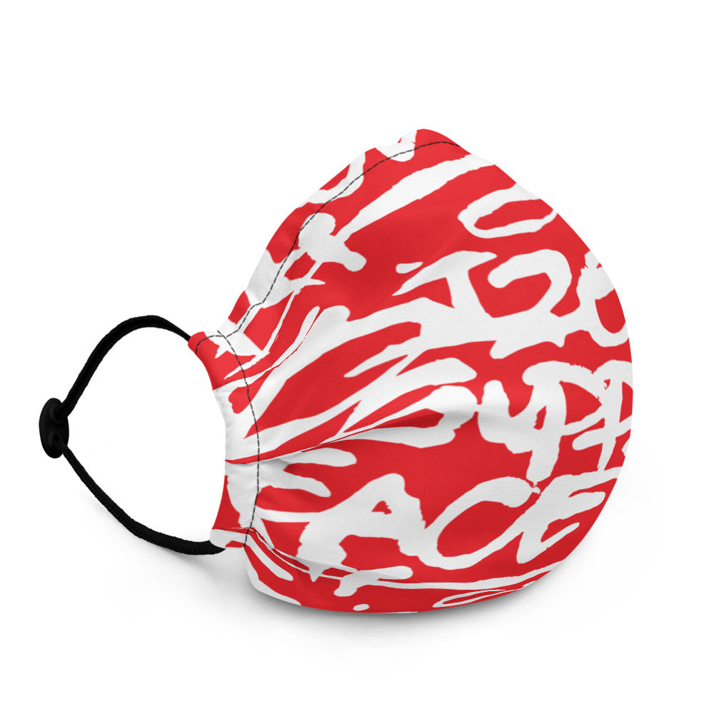 Script Face Mask Red