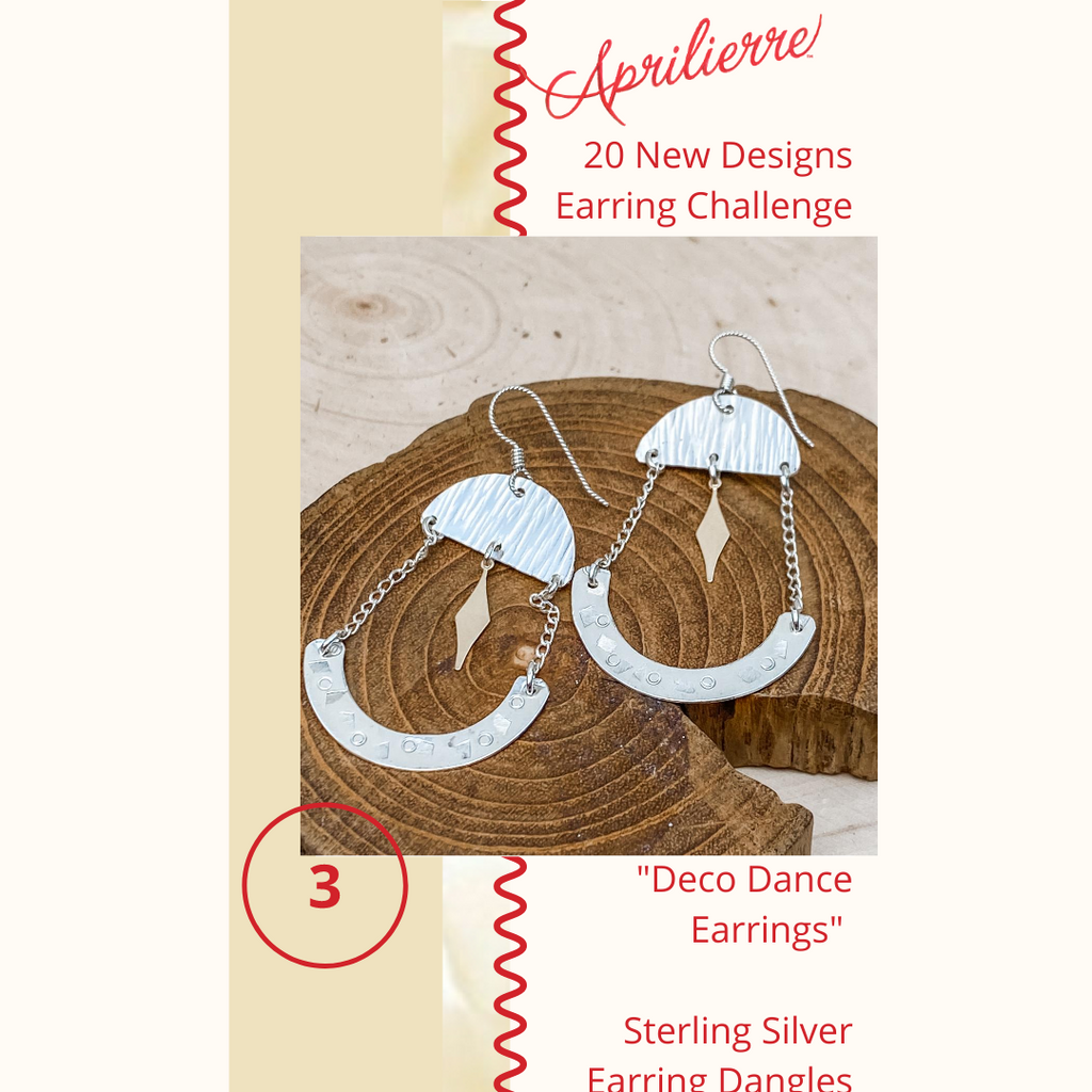 "Earring Design #3 ~ ""Deco Dance"" Sterling Silver Earrings"