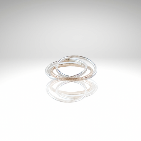 Trio Rings Sterling Silver and 14kt gold interlocking rings
