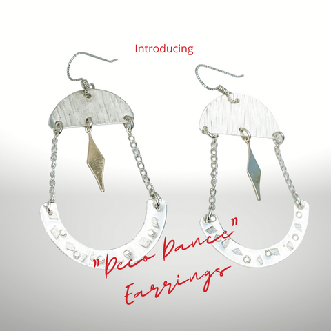 Deco Dance earrings  sterling silver and 14kt gold filled