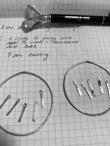 picture of notes for earring design
