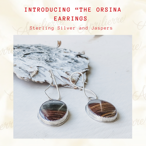 for sale sterling silver jasper earrings