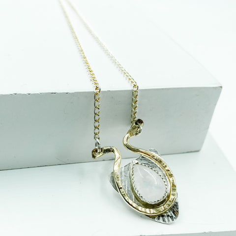 Moonstone necklace surrounded by 14kt gold-filled
