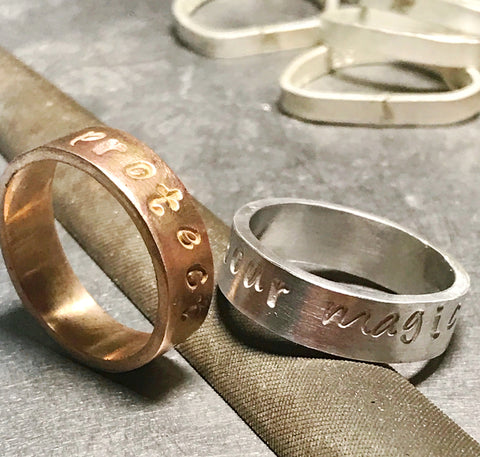 sterling silver 14kt gold-filled stamped rings