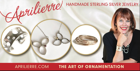 Aprilierre jewelry, April Barnhart, sterling silver cuff bracelet, 14kt gold filled stack rings, flower pendants.