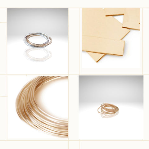 Aprilierre Gold filled stack rings and raw gold filled sheet and gold filled wire