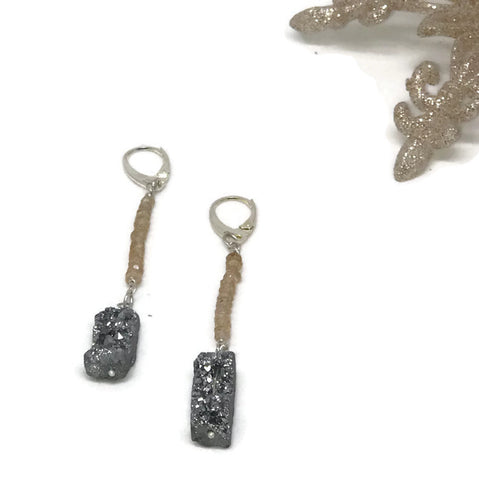 Natural zircon and druzy earrings