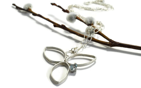 Sterling silver bloom necklace with aquamarine by Aprilierre