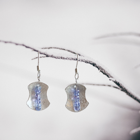 """Awaken Balance"" ~Sterling Silver Earrings with Faceted Tanzanite gemstones - Aprilierre"