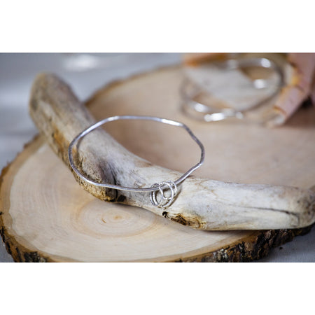 Bangle Bracelet Sterling Silver Geometric three charms - Aprilierre