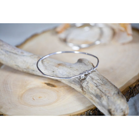 Bangle Bracelet Sterling Silver and Geometric Charms - Aprilierre