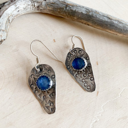 Gemstone Dangles - Sterling Silver with Rose Cut Kyanite - Aprilierre