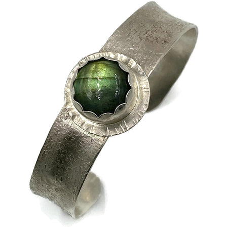 Sterling Silver Cuff Bracelet with Labradorite Gemstone