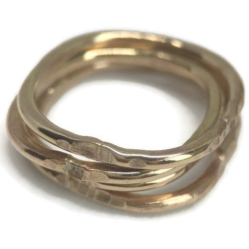 Stack Ring- Square Yellow Gold-Filled - Aprilierre