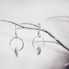 Delicate Dangles ~ Sterling Silver hoops with little leaves - Aprilierre