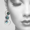 #10 Magical Mermaid~ Sterling Silver and Abalone shell statement earrings - Aprilierre