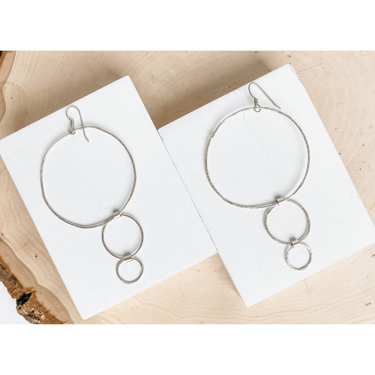 """Les Circle du Trio"" ~ Statement Sterling Silver  Earrings - Aprilierre"