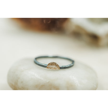 Stack Ring -Black Sterling Silver and hammered gold half circle