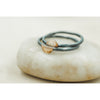 Stack Ring -Black Sterling Silver and hammered gold half circle - Aprilierre