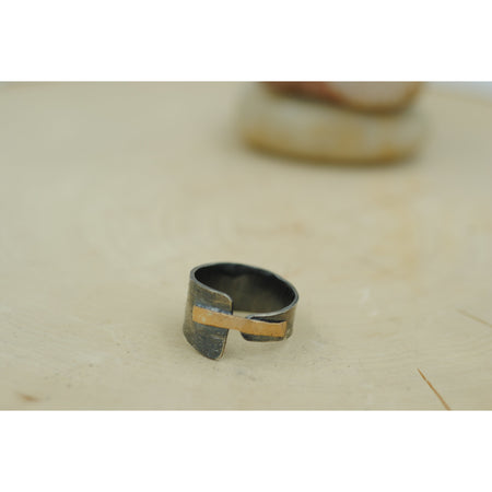Lacuna Ring Black Sterling Silver and Gold - Aprilierre