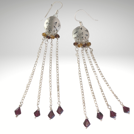 Enchanted Evening ~Sterling Silver Chandelier Earrings, Tourmaline, Garnets - Aprilierre