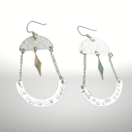 #3 Deco Dance~Sterling Silver Earrings with 14kt Gold-filled Charm - Aprilierre