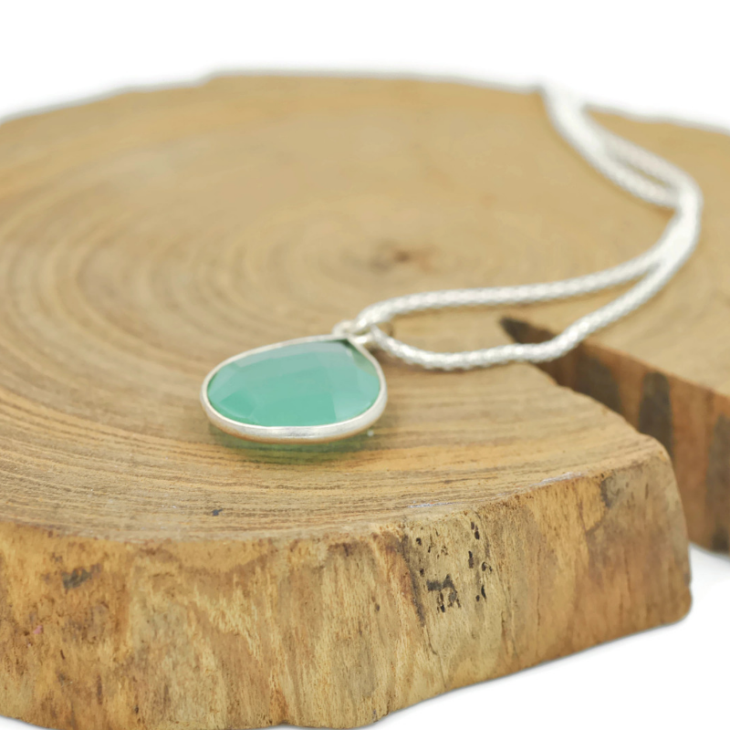 Spring Green Chalcedony Tear Drop Necklace - Aprilierre