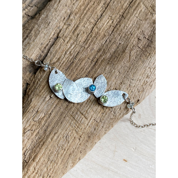 Blooming Petal Pendant Necklace Peridot, Swiss Blue Topaz - Aprilierre