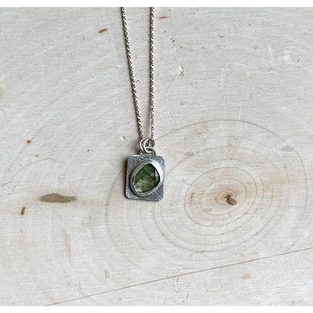 Green Tourmaline~Delicate Sterling Silver Pendant Necklace - Aprilierre