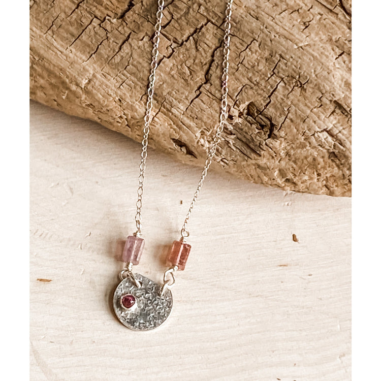 Pink Tourmaline Necklace ~ Sterling Silver - Aprilierre