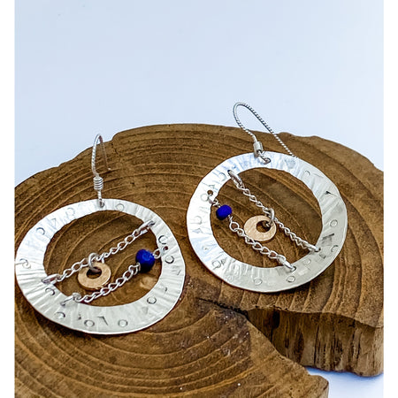 "#2  ""Laveer"" ~Sterling Silver Hoops with Lapis, 14kt Gold-filled"
