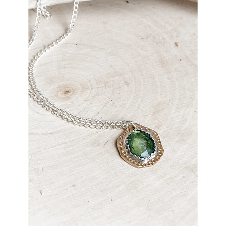 """The Gentle Whisper"" Sterling Silver and Rose Cut GreenTourmaline Gemstone Necklace"