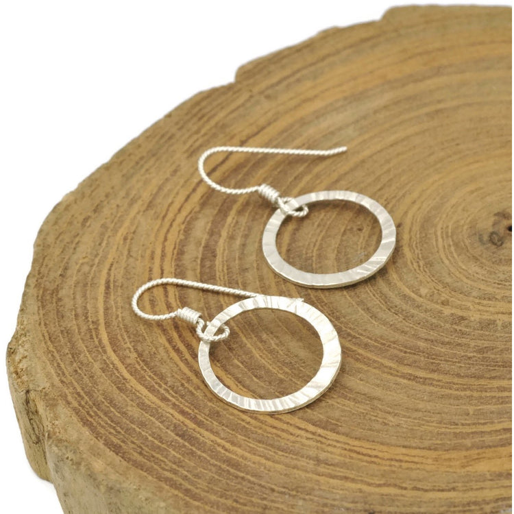 Sterling Silver Hammered Drop Earrings - Aprilierre