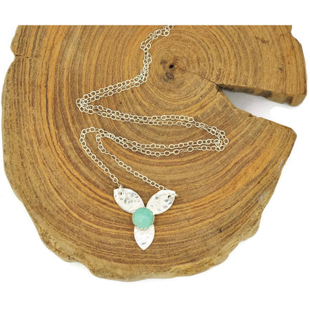 Sterling Silver Amazonite Tiny Bloom Pendant Necklace - Aprilierre