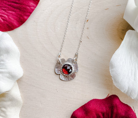 Tiny Bloom ~ Sterling Silver Flower Pendant with Rose Cut Garnet - Aprilierre