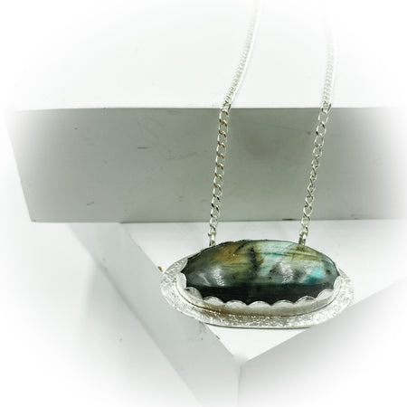 The Lustrous Gem ~  Sterling Silver Labradorite Pendant on Long Silver Chain - Aprilierre