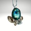 Bud Pendant ~ Sterling Silver, Labradorite with 14kt Gold-filled Leaves - Aprilierre
