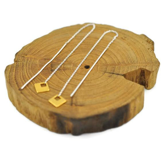 Earring Threads Sterling Silver and Brass Square Dangle - Aprilierre