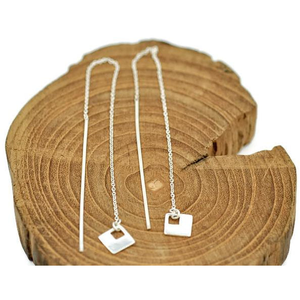 Earring Threads Sterling Silver Square Drop - Aprilierre